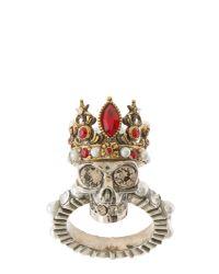 Alexander McQueen | Metallic Queen Skull Brass Ring | Lyst