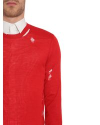 Alexander McQueen - Red Distressed Wool And Silk Round Collar Sweater for Men - Lyst