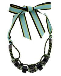 Lanvin | Black Polly Necklace With Ribbon Closure | Lyst