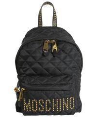 Moschino - Black Zaino Trapuntato Con Logo Borchiato - Lyst