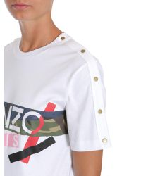 89a081ed8ff0 KENZO Camo Broken Print Cotton T-shirt in White - Lyst