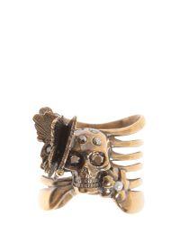 Alexander McQueen | Metallic Skeleton Butterfly Brass Ring | Lyst