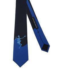 """Alexander McQueen - Blue """"dancing Skeleton"""" Silk Tie for Men - Lyst"""