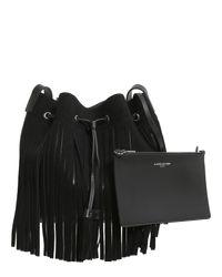 Lancaster - Black Pur Floral Leather Bucket Bag - Lyst
