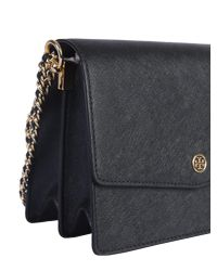 Tory Burch - Black Robinson Shoulder Bag In Saffiano - Lyst