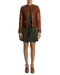 MICHAEL Michael Kors - Brown Leather Biker Jacket - Lyst