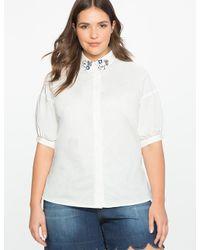 Eloquii - White Studio Embellished Collar Blouse - Lyst