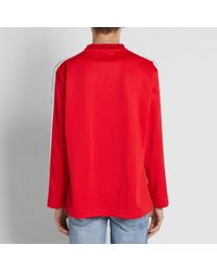 Palm Angels Red Track Taping Long Sleeve Tee for men