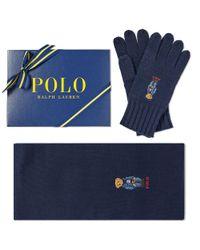 Polo Ralph Lauren - Blue Classic Bear Glove & Scarf Gift Box for Men - Lyst
