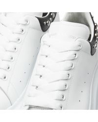 Alexander McQueen - White Wedge Sole Studded Heel Tab Sneaker for Men - Lyst