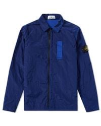 Stone Island - Blue Nylon Metal Shirt Jacket for Men - Lyst