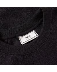 AMI - Black Collegiate Logo Crew Neck Knit for Men - Lyst