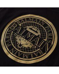 Balmain - Black Gold Circle Logo Tee for Men - Lyst