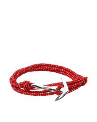 Miansai - Red Silver Anchor Rope Bracelet - Lyst