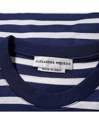 Alexander McQueen - Blue Long Sleeve Stripe Blurred Skull Print Tee for Men - Lyst