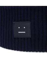 Acne - Blue Pansy Wool Beanie for Men - Lyst