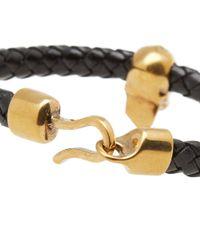Alexander McQueen - Black Skull Leather Bracelet for Men - Lyst