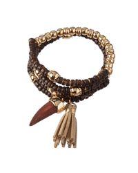 Cara Couture | Brown Beaded Tassel Bracelet Set | Lyst