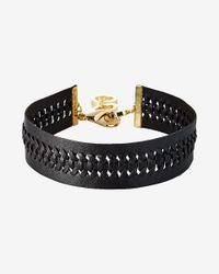 Express | Black Braided Leather Choker Necklace | Lyst