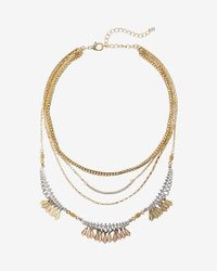 Express | Metallic Two Tone Layered Necklace | Lyst