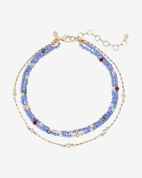 Express - Blue Three Row Beaded Choker Necklace - Lyst