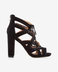 Express | Black Whipstitch Lace-up Heeled Sandal | Lyst