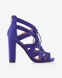 Express | Blue Whipstitch Lace-up Heeled Sandal | Lyst
