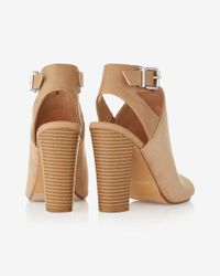 Express - Natural Cut-out Open Toe Buckle Sandal - Lyst
