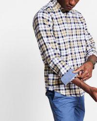 Express   Blue Soft Wash Plaid Shirt for Men   Lyst