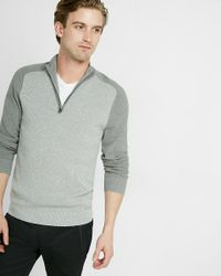 Express | Gray Color Block Half Zip Mock Neck Sweater for Men | Lyst