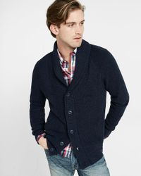 Express | Blue Mixed Stitch Shawl Collar Cardigan for Men | Lyst