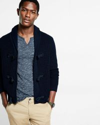 Express | Blue Toggle And Zip Shawl Collar Cardigan for Men | Lyst