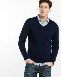 Express | Blue Merino Wool V-neck Sweater for Men | Lyst