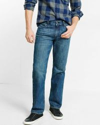 Express | Blue Classic Fit Straight Leg Medium Wash Jeans for Men | Lyst