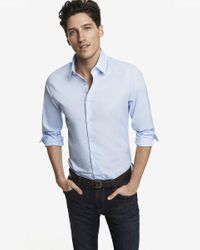 Express   Blue Slim Fit 1mx Shirt for Men   Lyst