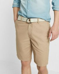 2f601251e7 Express Classic Fit 10 Inch Flat Front Belted Shorts in Natural for ...