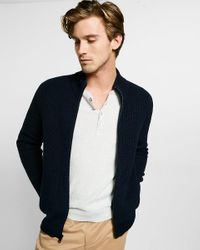 Express | Blue Cotton Ribbed Full Zip Mock Neck Sweater for Men | Lyst
