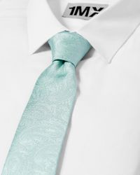 Express - Green Narrow Printed Silk Tie for Men - Lyst
