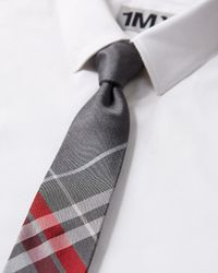 Express - Gray Plaid Narrow Silk Tie for Men - Lyst