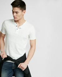 Express | White Wide Placket Garment Dyed Short Sleeve Henley for Men | Lyst