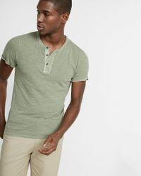 Express - Green Wide Placket Garment Dyed Short Sleeve Henley for Men - Lyst