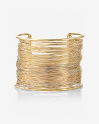 Express - Metallic Wrapped Metal Cuff Bracelet - Lyst