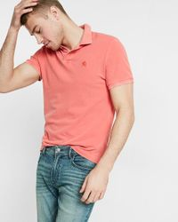 Express | Pink Garment Dyed Small Lion Pique Polo for Men | Lyst