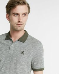 Express | Green Textured Small Lion Pique Polo for Men | Lyst