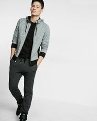 Express | Gray Speckled Contrast Zip Front Hoodie for Men | Lyst