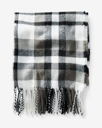 Express | Gray Fringed Plaid Scarf for Men | Lyst