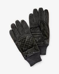 Express - Black Leather And Wool Quilted Glove for Men - Lyst