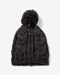 Express | Gray Cable Knit Pom Beanie for Men | Lyst