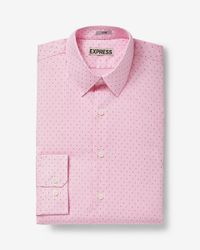 Express | Pink Fitted Micro Dot Print Dress Shirt for Men | Lyst