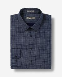 Express | Blue Fitted Micro Print Dress Shirt for Men | Lyst